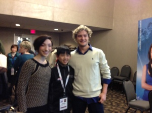 Vincent with 5-time U.S. ice dance champions Meryl Davis and Charlie White at the Friends of Figure Skating breakfast