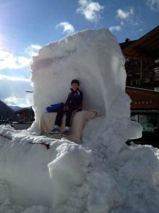 Vincent sitting on a throne made of snow. Photo courtesy of Icenetwork