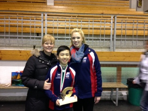 Vincent with coach Tammy Gambill and team leader Lindsey Weber