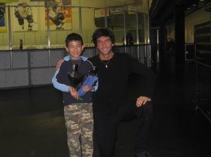 Vincent with Evan Lysacek in December 2008.
