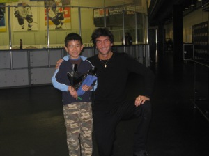 Vincent with Evan Lysacek in December 2008.