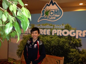 Vincent Zhou posting at the Destination Sochi
