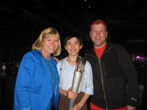 Vincent Zhou with Olympian Lorrie Parker and Coach Justin Dillon who choreographed Vincent's ACC exhibition program
