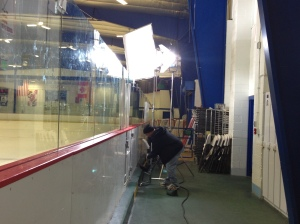 Shooting my skating at the Columbia Association Ice Rink. Setting up the lights