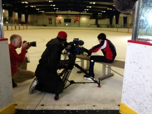 Lacing my skates in front of the camera