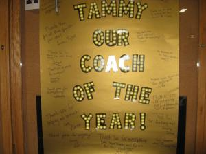 A congratulation poster signed by Tammy's skaters