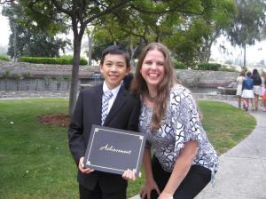 Vincent got the 8th grade Science Award. Posing with science teacher Mrs. Nakamura