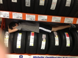 Tired at the tire center! See essay above :)
