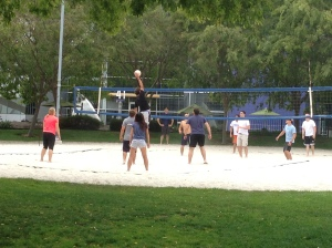 Googlers playing beach volleyball