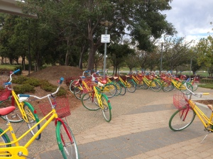 Google campus is huge Lots of buildings. People go from one building to another on Google bikes