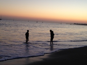Me and my sister on the Santa Barbara beach at sunset