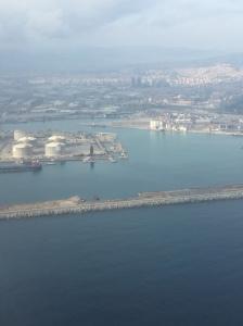 Birds eye of Barcelona by the Mediterranean Sea