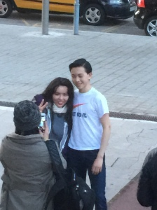Vincent posing with fans
